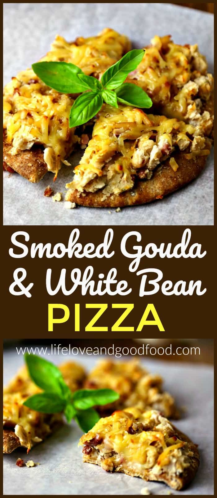 SStep outside of your pepperoni pizza comfort zone with a flavorful pie of Smoked Gouda and White Beans on a pita bread crust! #pizza #gouda