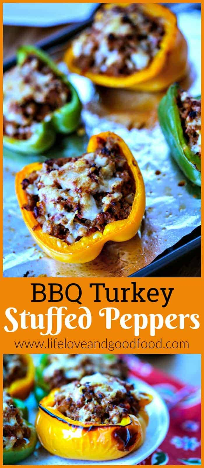 Stuff BBQ-flavored turkey mixture into red, yellow, or green sweet bell peppers for a leaner version of the classic stuffed peppers recipe. #dinner #stuffedpeppers