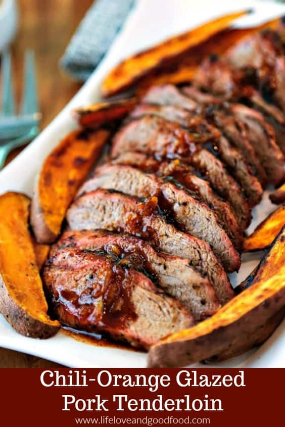 Easy preparation and simple ingredients combine to create a flavorful meal of Chili-Orange Glazed Pork Tenderloin with roasted sweet potato wedges.