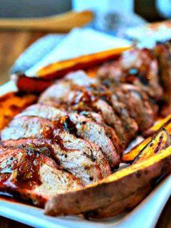 A plate of sliced Chili-Orange Glazed Pork Tenderloin