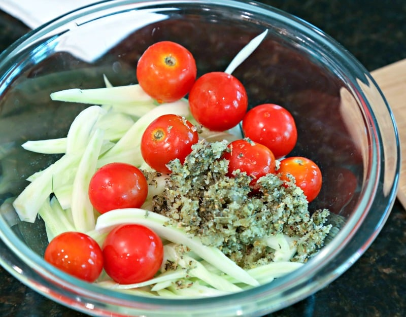 A bowl of fennel and tomatoes
