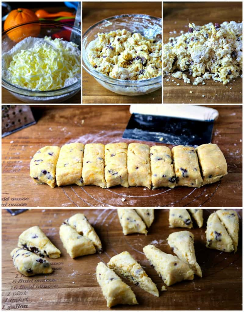 Process collage for making mint chocolate chip scones