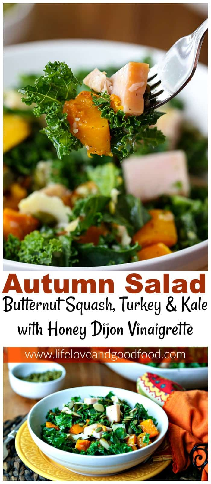 Welcome Autumn with this healthy kale salad with butternut squash and turkey tossed with a simple honey Dijon vinaigrette and garnished with pumpkin seeds. #salad #kalesalad