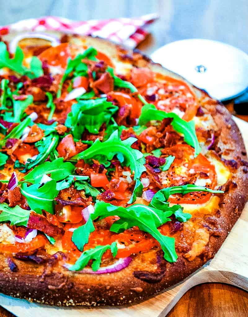 BLT Pizza with bacon