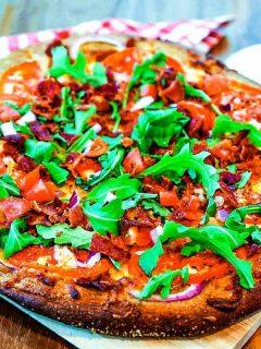 BLT Pizza on pizza board