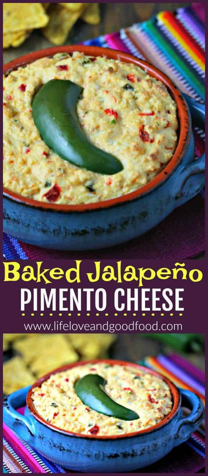 Baked Jalapeño Pimento Cheese - Adjust the heat to your taste by adding more roasted jalapeño peppers in this lightened up homemade pimento cheese. #appetizer #dip #cheesedip