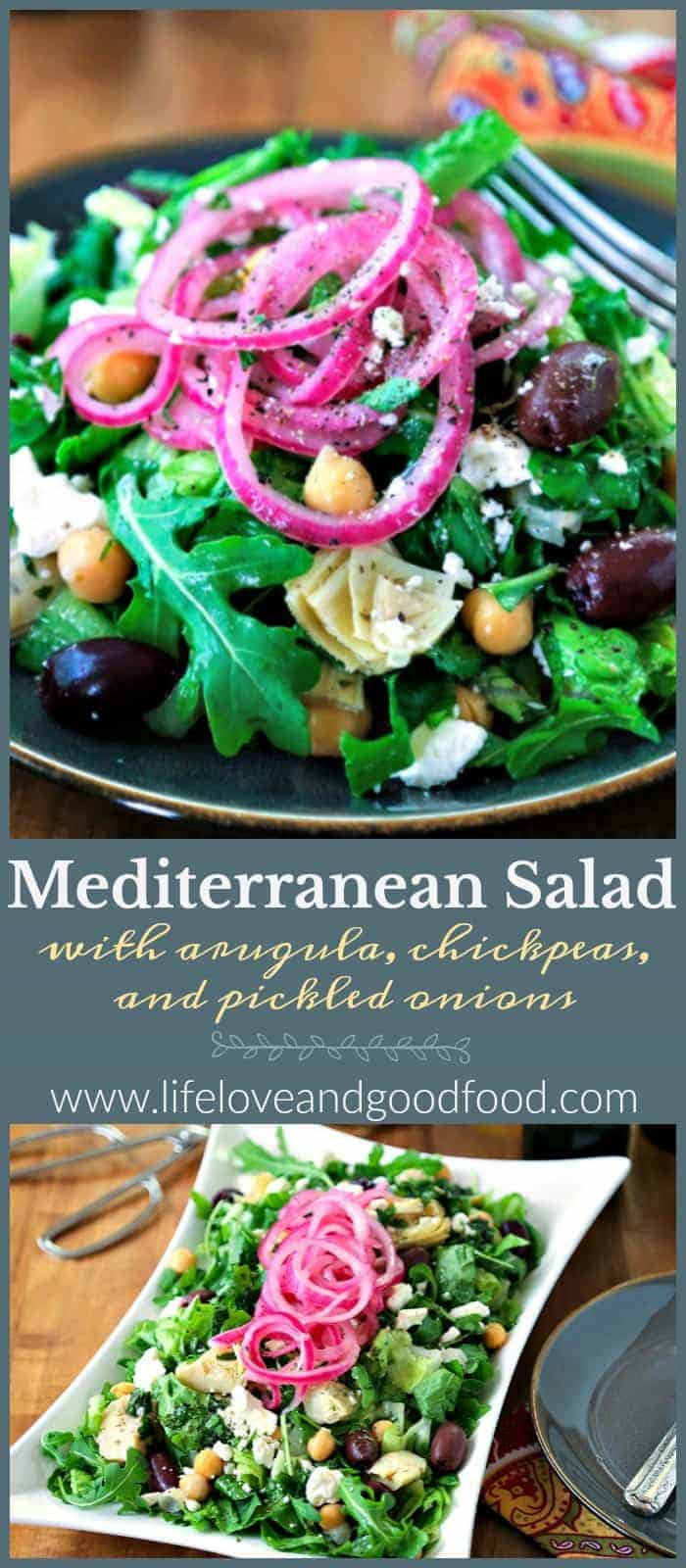 Greek-inspired chopped salad featuring arugula, chickpeas, and pickled red onions with a fresh herb vinaigrette. #salad #greeksalad #pickledredonions