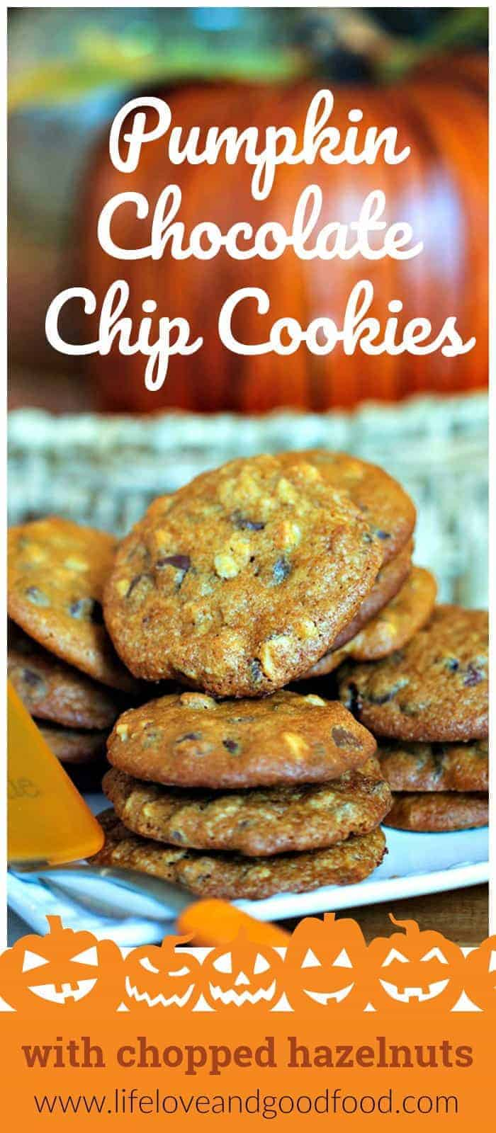 Pumpkin Chocolate Chip Cookies—light and airy pumpkin cookies chock full of chocolate chips and chopped hazelnuts—are perfect for Fall parties or tailgates! #cookies