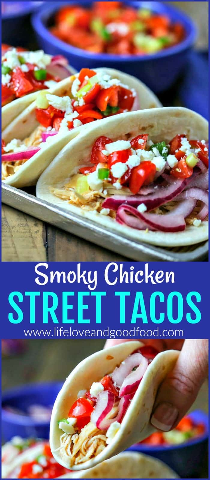 Smoky Chicken Street Tacos with Pickled Red Onion and Fresh Salsa   Life, Love, and Good Food
