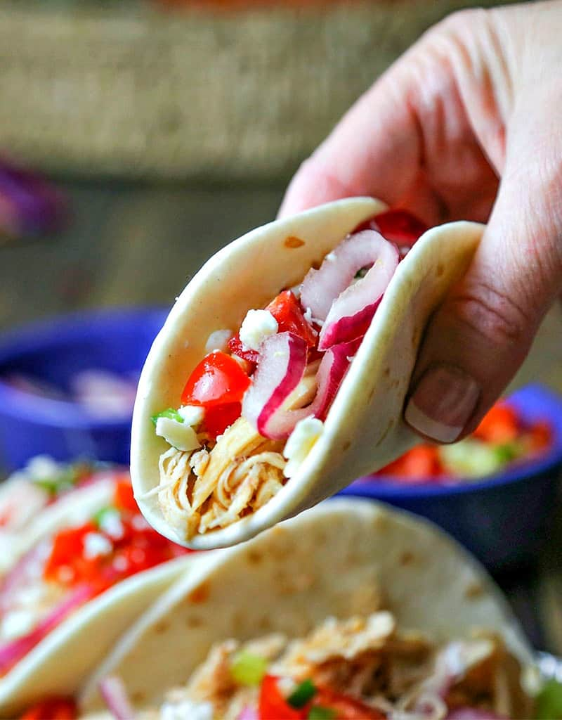 Smoky Chicken Street Tacos with Pickled Red Onion and Fresh Salsa | Life, Love, and Good Food