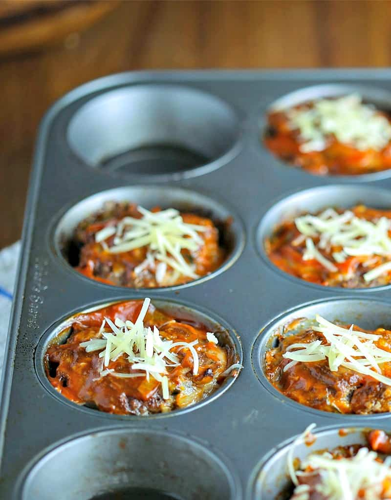A muffin pan with baked Meatloaf Muffins