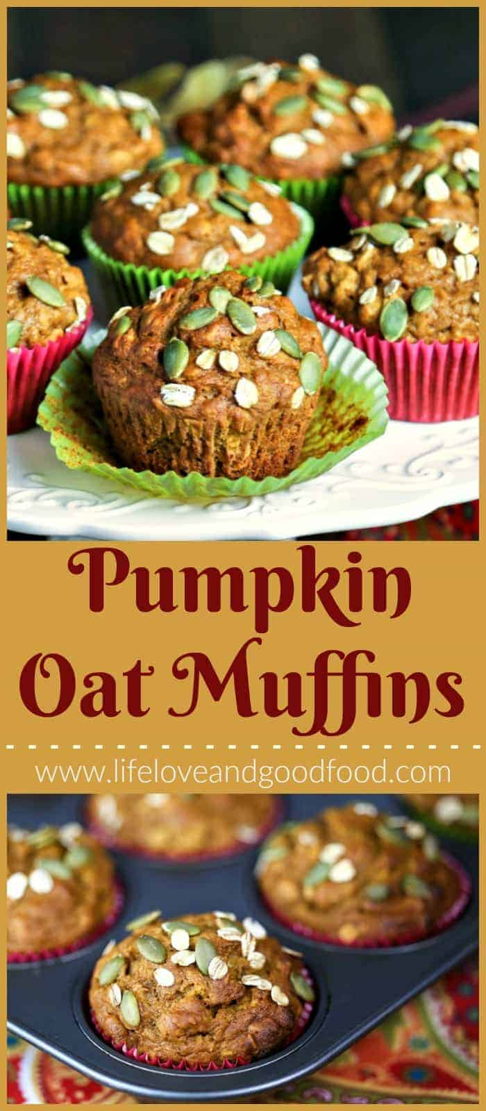 Make these Pumpkin Oat Muffins with whole wheat flour for a healthier, whole grain muffin sweetened with dark brown sugar and maple syrup. #muffins #pumpkinmuffins