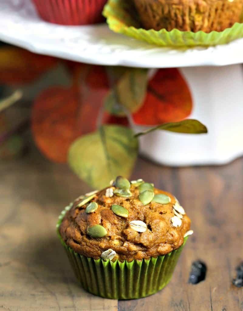 A close up of a Pumpkin Oat Muffin