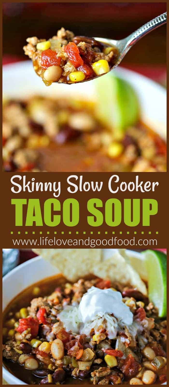 Skinny Taco Soup made in the slow cooker is packed with flavor and super simple to prepare. Sauté onions and turkey, open a few cans, and you're good to go!