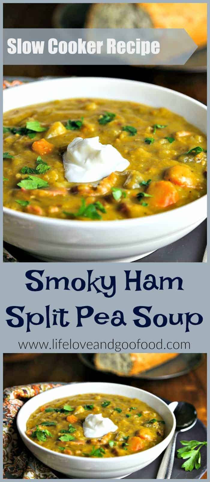 Smoky Ham Split Pea Soup | Slow Cooker Recipe | Life, Love, and Good Food