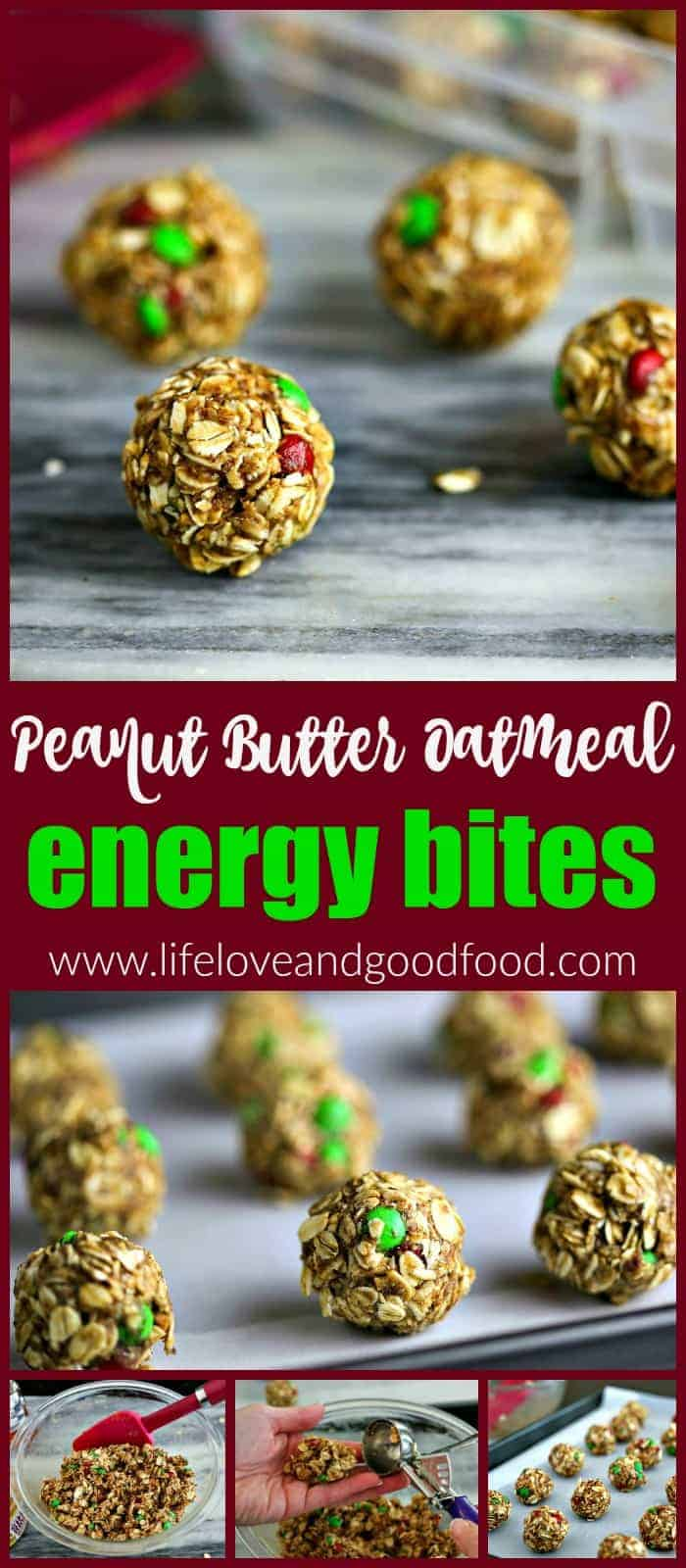 Peanut Butter Oatmeal Energy Bites. Satisfy your cookie craving with these tasty no-guilt, no-bake energy bites sweetened with honey. #nobakesnacks #energybites
