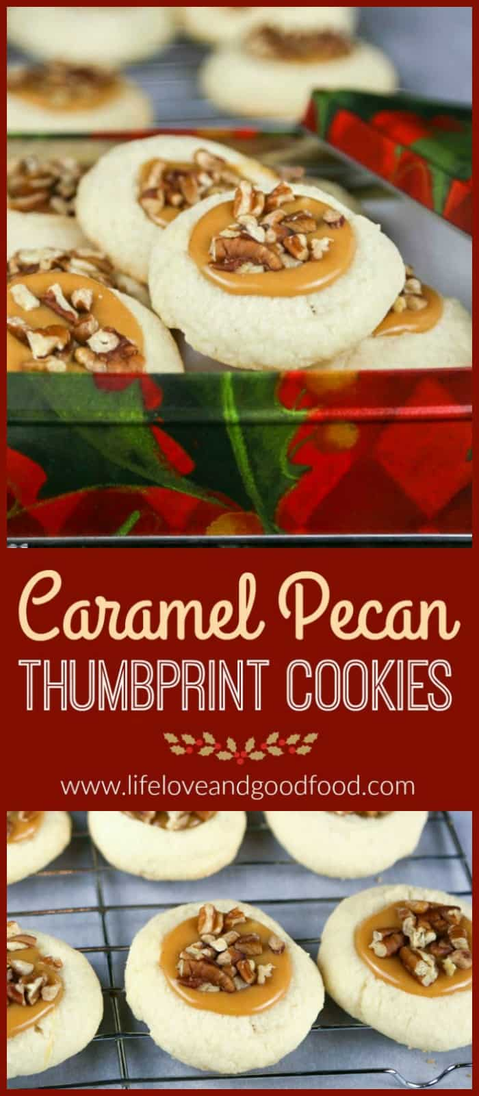 Caramel Pecan Thumbprint Cookies—buttery shortbread with a creamy caramel center topped with toasted pecans #cookies #thumbprintcookies