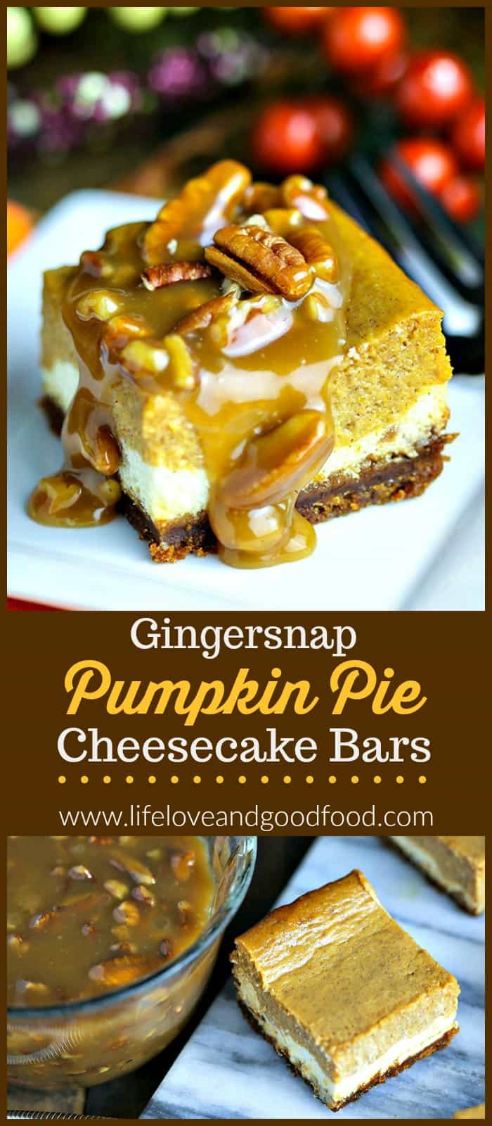 Gingersnap Pumpkin Pie Cheesecake Bars start with layers of pumpkin pie and creamy cheesecake on a crispy gingersnap crust and are finished off with a decadent caramel pecan sauce. #dessert #cheesecake #pumpkin