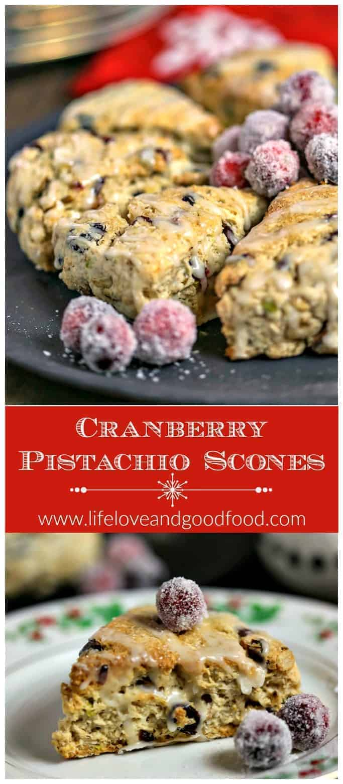 Perfect for Christmas morning, these Cranberry Pistachio Scones are drizzled with a fresh orange glaze and garnished with sugar frosted cranberries. #scones #cranberryscones