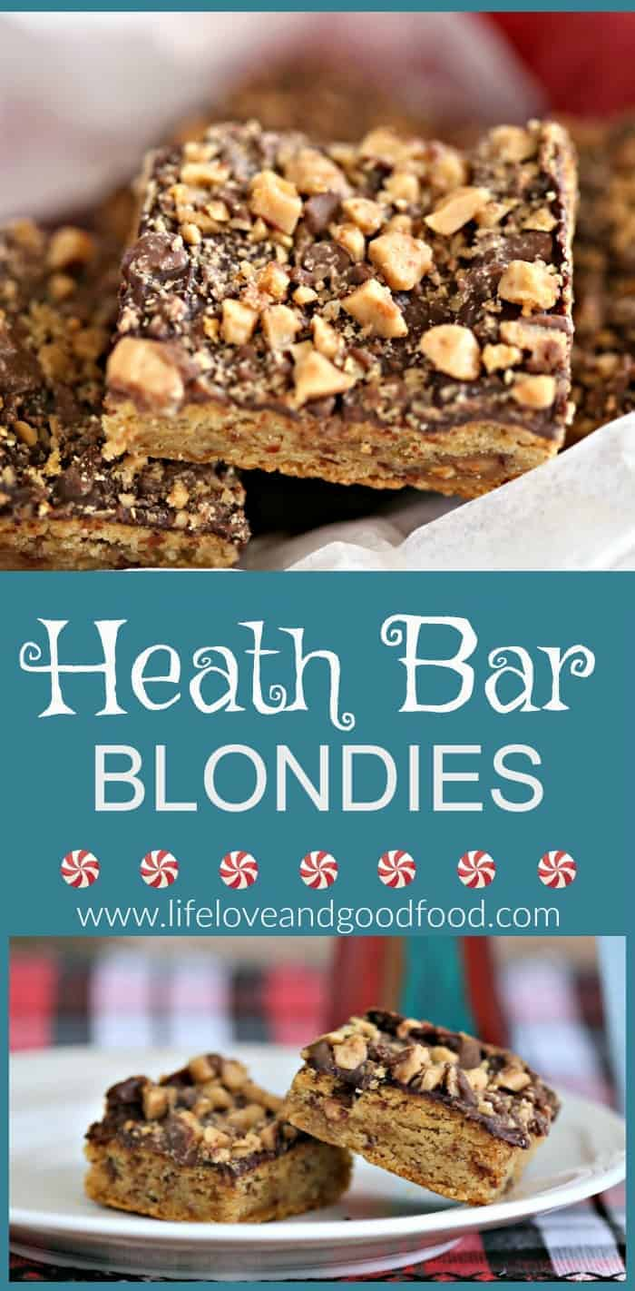 Heath Bar Blondies - Try this easy recipe for a chocolate-topped sweet dessert bar that's studded with Heath bar toffee bits inside and out!  | Life, Love, and Good Food