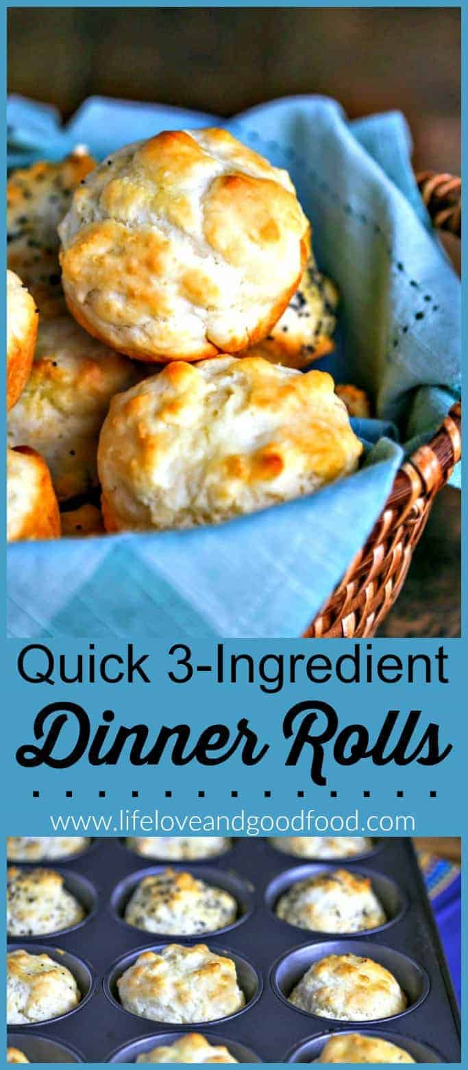 These Quick 3-Ingredient Dinner Rolls are so easy and delicious! #bread #quickbread #muffin