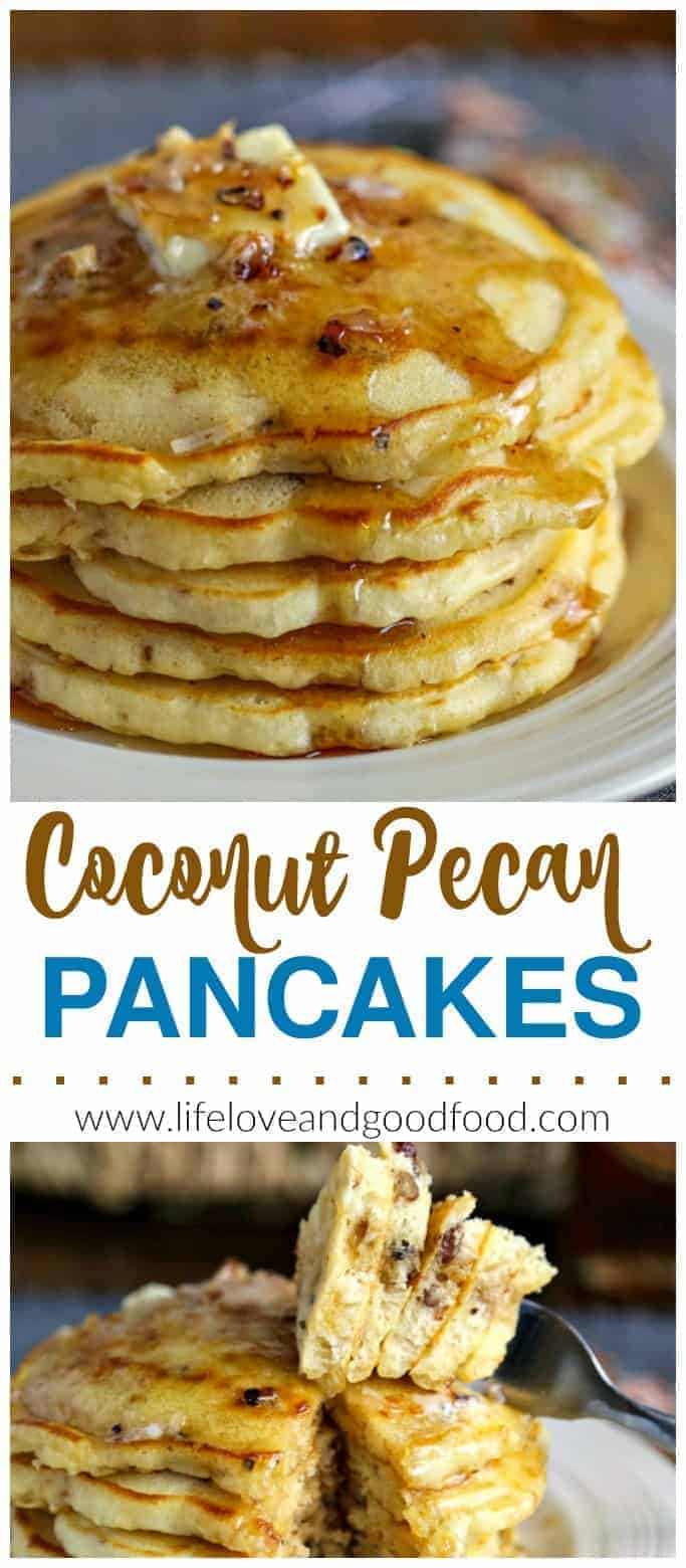 Coconut Pecan Pancakes. Step up your pancake game by adding toasted coconut and pecans to this basic, no-fail batter! #pancakes #breakfast