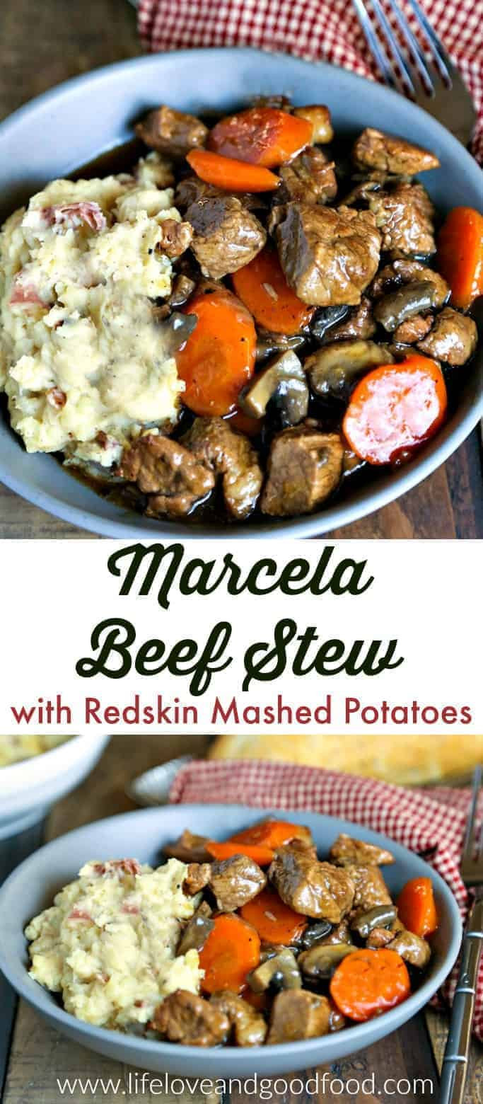 Marsala Beef Stew with Redskin Mashed Potatoes. A rich stew of beef, mushrooms, and carrots served over creamy rustic masted potatoes. #stew #dinner