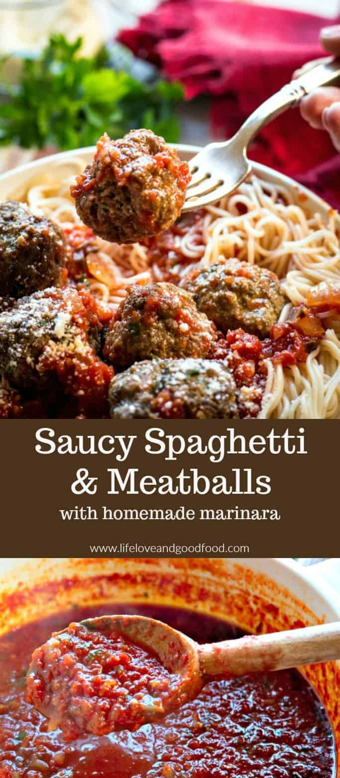 Saucy Spaghetti and Meatballs | These Italian meatballs are delicious and extremely tender, and although they take a little time to prep, they are very easy...just mix, shape, and bake! #meatballs #marinara