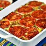 This Southwestern Frittata has a soft tamale-like texture and is loaded with pepper jack cheese and garnished with thinly sliced fresh tomatoes.