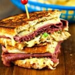 Super Coleslaw Reuben Sandwiches with melty Pepper Jack cheese and tangy coleslaw served hot off the griddle.