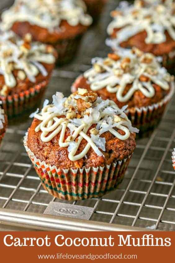 Drizzled with a honey cream cheese glaze, you'll have trouble deciding whether to serve these whole wheat Carrot Coconut Muffins for brunch or for dessert!
