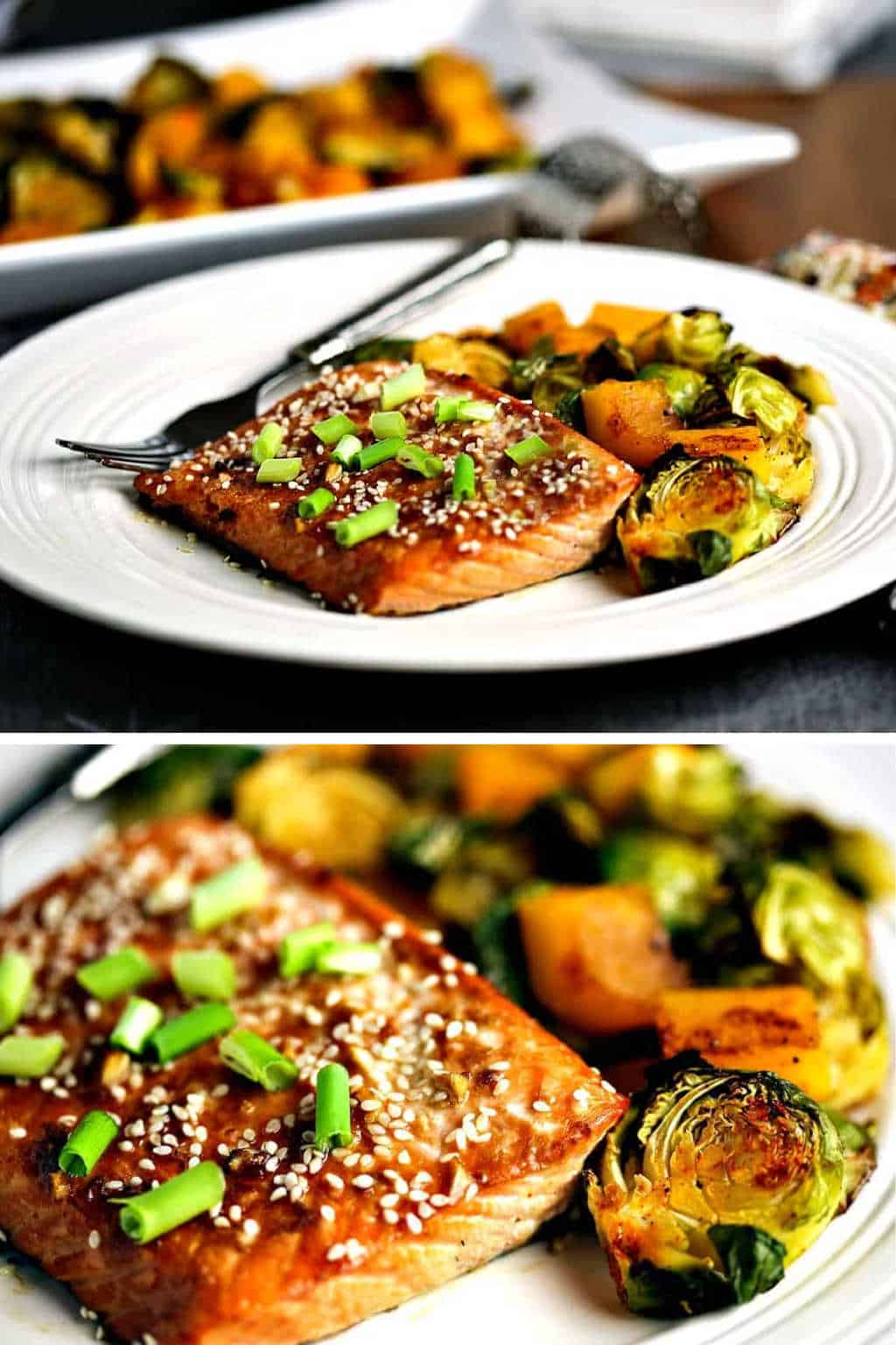 honey soy salmon with brussels sprouts and butternut squash