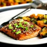 Honey Soy Salmon Sheet Pan Dinner. A flavorful weeknight meal of Asian-inspired sweet, flaky salmon with crisp roasted Brussel sprouts and butternut squash. You'll love this good-for-you, easy-to-prepare 30-minute recipe!