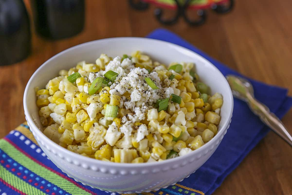 A bowl of Mexican Street Corn Salad