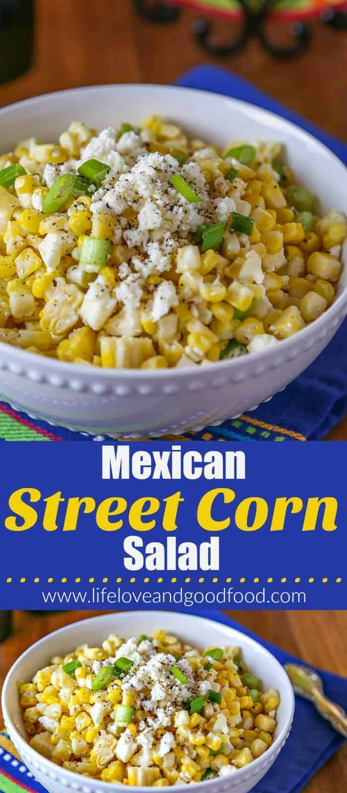 Serve this easy Mexican Street Corn Salad just once and it will quickly become one of your favorite go-to sides for taco nights at home!