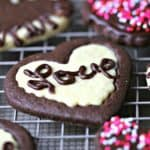"""Say """"I love you"""" with chocolate and vanilla heart-shaped sugar cookies and support a good cause! #helpingcookies"""