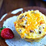 Gluten-Free Sausage Egg Muffin on a speckled plate