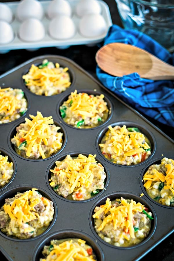 Gluten-Free Sausage Egg Muffins in baking tin