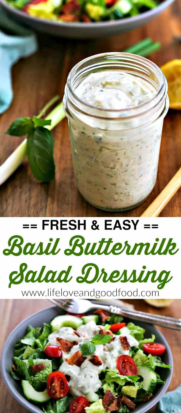 Basil Buttermilk Dressing. Welcome Spring with fresh salads topped with a delicious homemade dressing blended up with fresh herbs, garlic, and tangy buttermilk. #buttermilkdressing #saladdressing