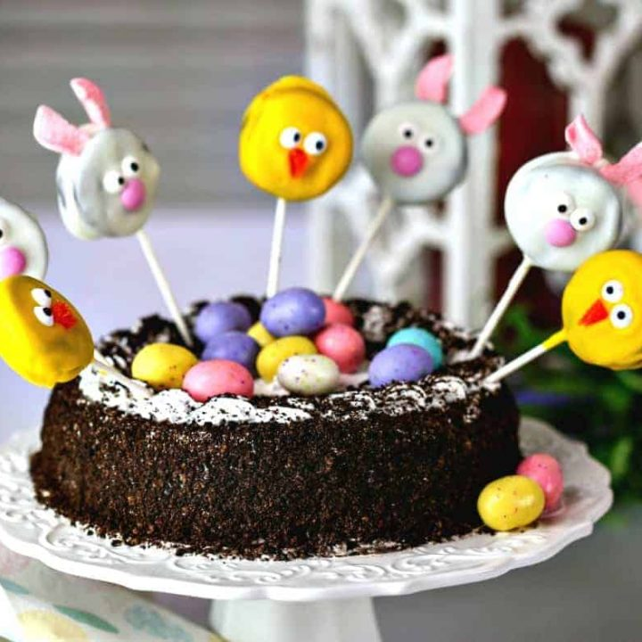 An Easter ice cream cake sitting on top of a table