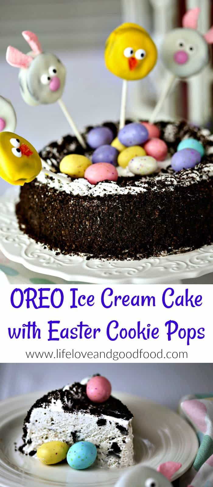 "Hop on into Spring with this adorable Easter dessert, an Oreo Ice Cream Cake decorated with a ""nest"" of speckled Easter eggs and crowned with pink bunny and yellow chick Oreo cookie pops! #IceCreamCakeBreak #sponsored"