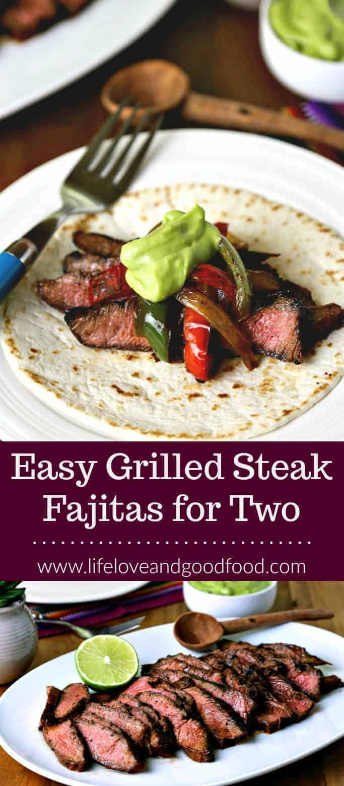 Easy Grilled Steak Fajitas for Two. A red curry paste marinade and fresh avocado crema make for tasty and easy grilled steak fajitas at home! #fajitas #grilling #steak #cincodemayo #avocado #Mexican #texmex