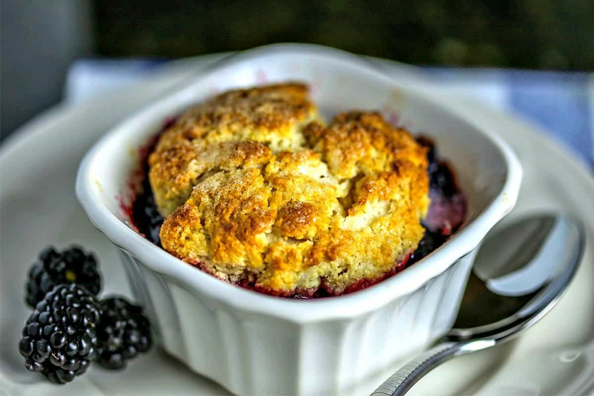A bowl of Blackberry Cobbler