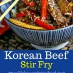 Cook thinly sliced beef quickly at high heat and you can skip the marinating time without sacrificing tenderness or flavor with this short-cut Korean Beef Stir Fry recipe. #stirfry #beef #dinner #recipe #thrivealgaeoil #sponsored