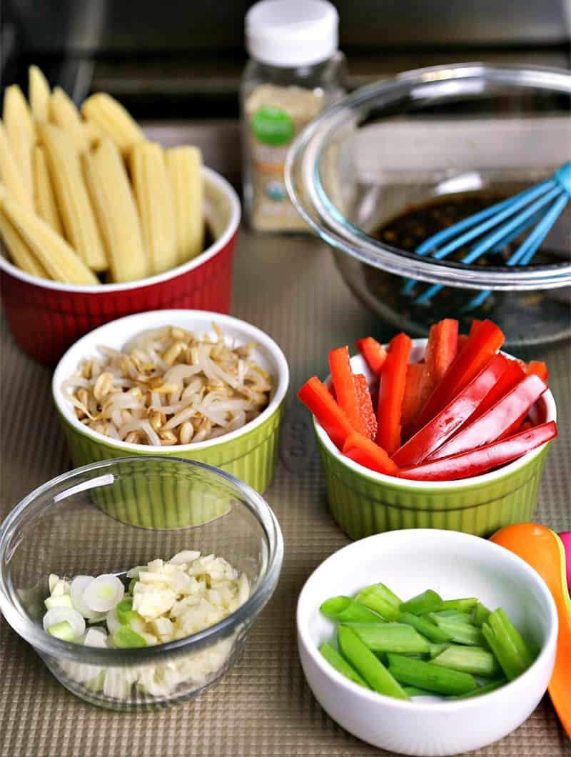 Ingredients for Korean Beef Stir Fry in small bowls