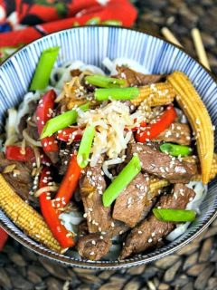 A bowl of Korean Beef Stir Fry