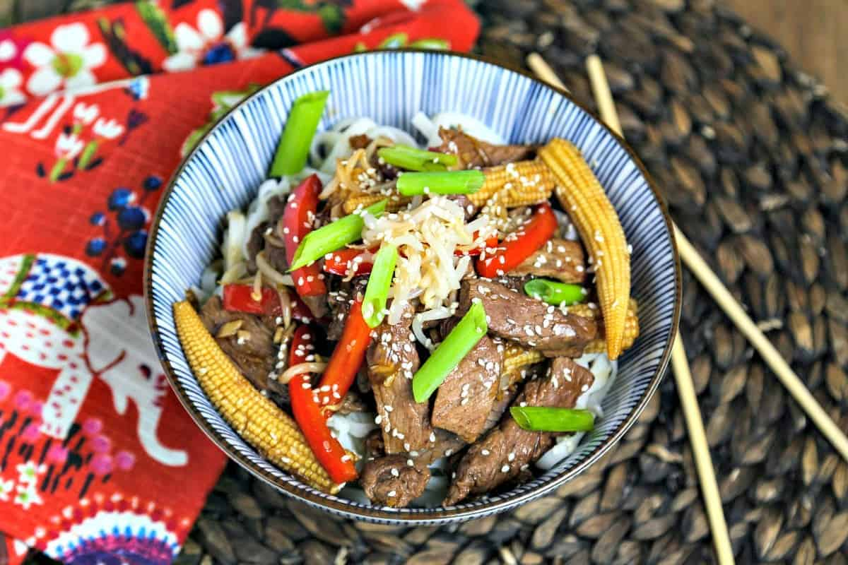 A bowl of Korean Beef Stir Fry