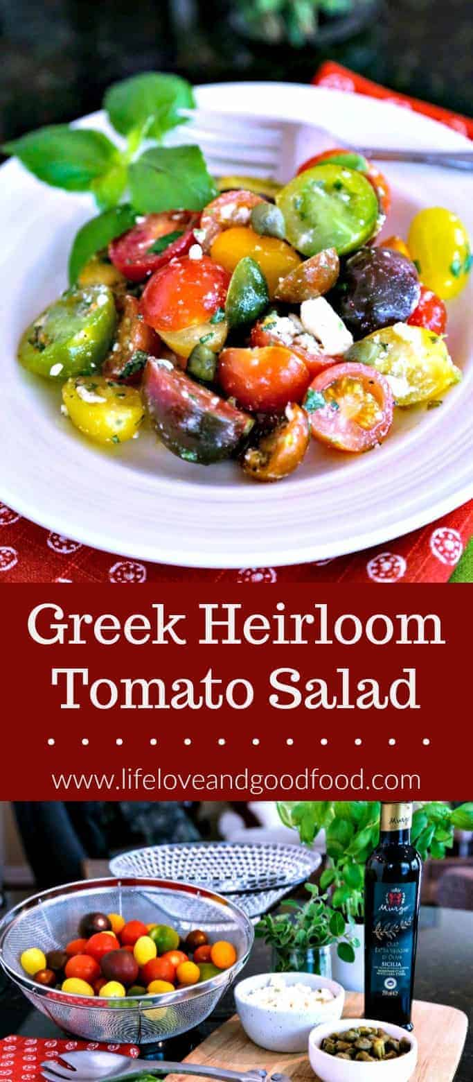 Garden fresh tomatoes make all the difference in the world when it comes to Summer salads, and now that they are in season, it's the perfect time to enjoy this simple Greek Heirloom Tomato Salad. Dressed simply with a good quality extra-virgin olive oil, toss together a mixture of red, yellow, and green cherry tomatoes (or use heirloom tomatoes) with fresh herbs, capers, and Feta cheese and you have a tasty and gorgeous dish in just five minutes! #heirloomtomato #salad #recipe