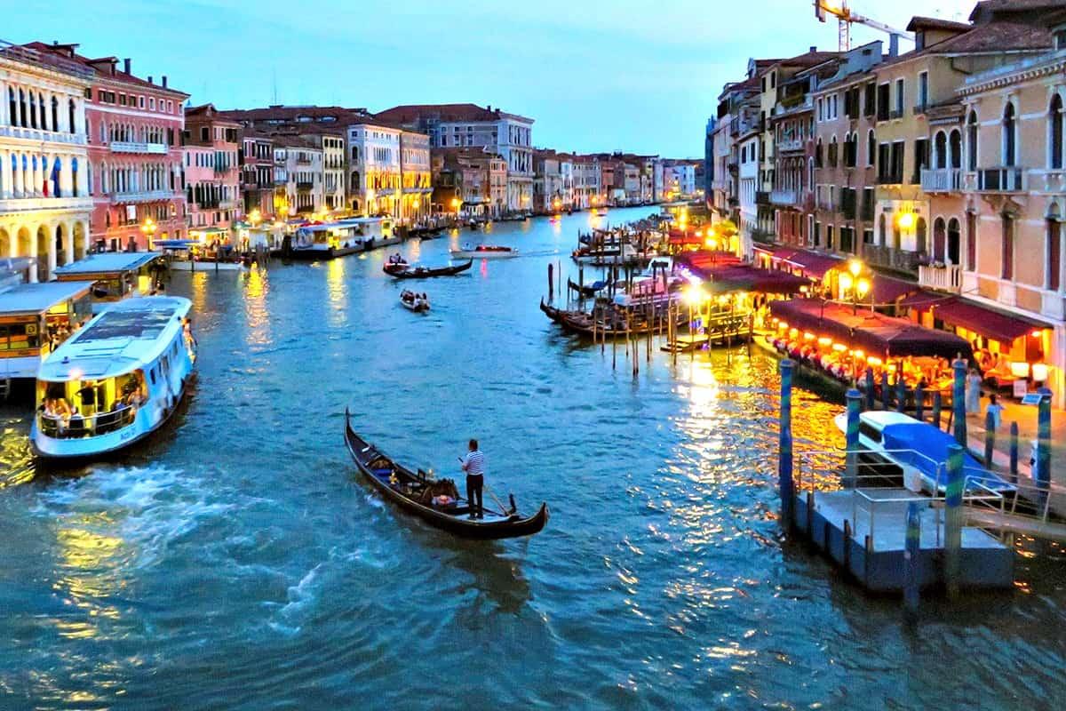 Gondolas in the Grand Canal in Venice