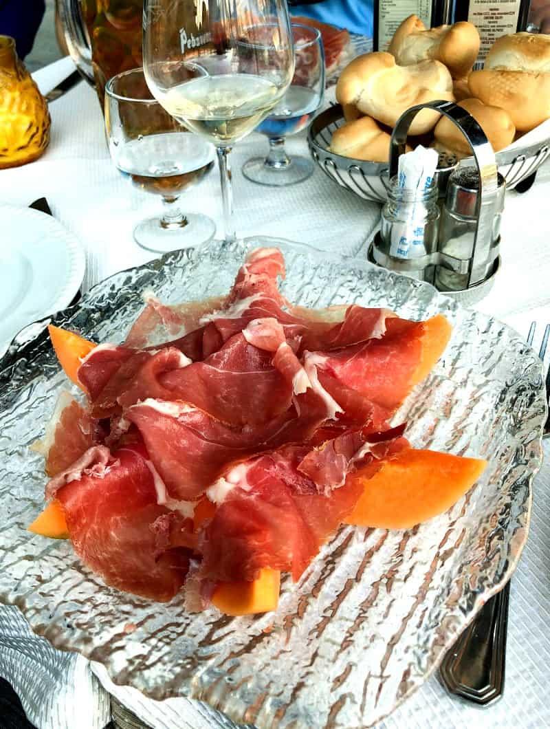 A plate of Prosciutto and cantaloupe